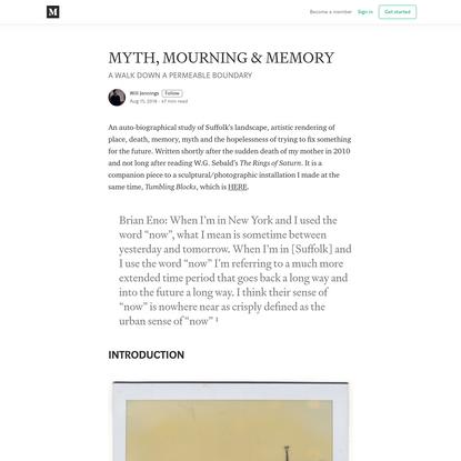 MYTH, MOURNING & MEMORY - Will Jennings - Medium