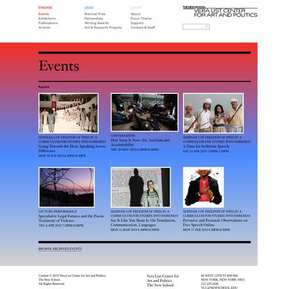 The Vera List Center for Arts and Politics | Archive