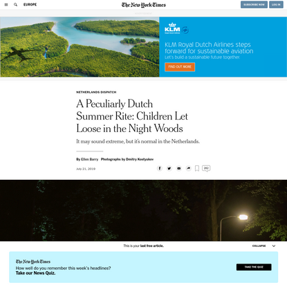 A Peculiarly Dutch Summer Rite: Children Abandoned in the Night Woods