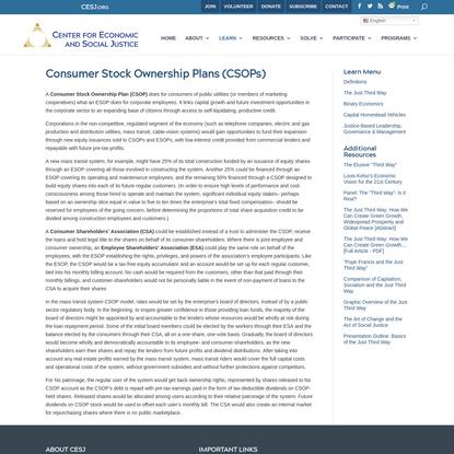 Consumer Stock Ownership Plans (CSOPs)