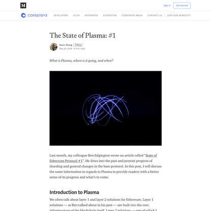 The State of Plasma: #1 - ConsenSys Media