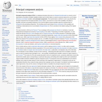 Principal component analysis - Wikipedia