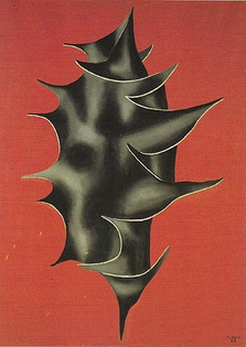 Holly leaf on red background by Fernand Léger (1928)