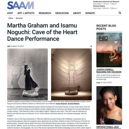 Martha Graham and Isamu Noguchi: Cave of the Heart Dance Performance