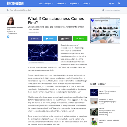 What If Consciousness Comes First?   Psychology Today