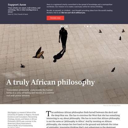 Consolation philosophy and the struggle of reason in Africa - Ada Agada | Aeon Essays