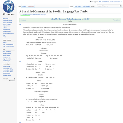 A Simplified Grammar of the Swedish Language/Part I/Verbs