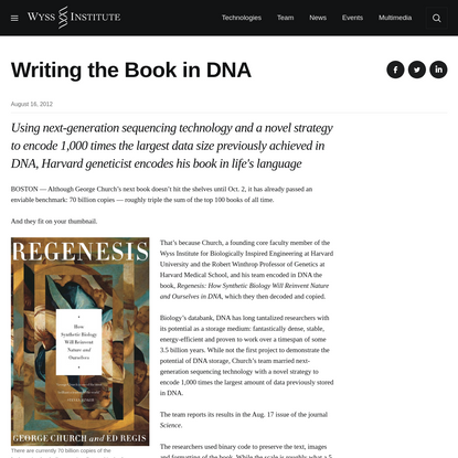 Writing the Book in DNA