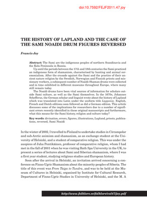 THE HISTORY OF LAPLAND AND THE CASE OF THE SAMI NOAIDI DRUM FIGURES REVERSED