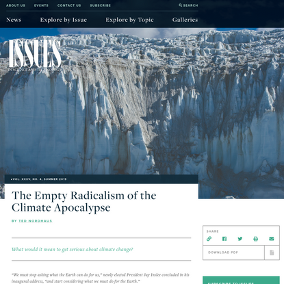 The Empty Radicalism of the Climate Apocalypse   Issues in Science and Technology