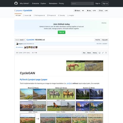 CycleGAN/README.md at master · junyanz/CycleGAN · GitHub