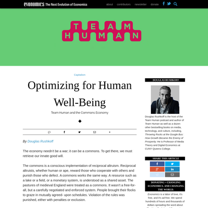 Optimizing for Human Well-Being - Evonomics