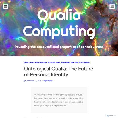 Ontological Qualia: The Future of Personal Identity