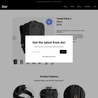 Travel Pack 2 - Black - Aer | Modern gym bags, travel backpacks and laptop backpacks designed for city travel