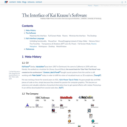 The Interface of Kai Krause's Software