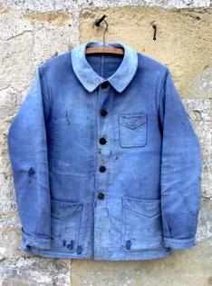 1940's French blue moleskin work jacket