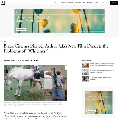 """Black Cinema Pioneer Arthur Jafa's New Film Dissects the Problems of """"Whiteness"""""""