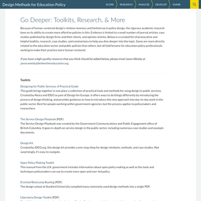 Go Deeper: Toolkits, Research, & More