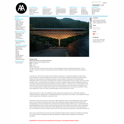 AA SCHOOL OF ARCHITECTURE - Lectures Online