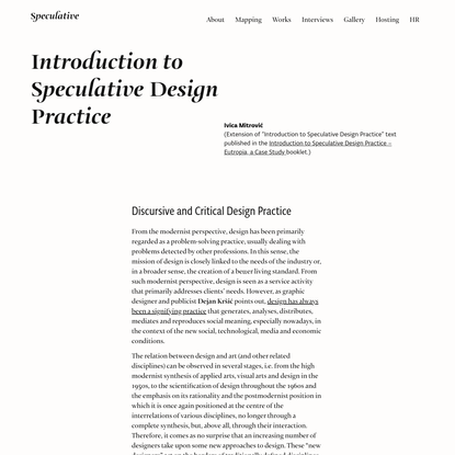 Introduction to Speculative Design Practice