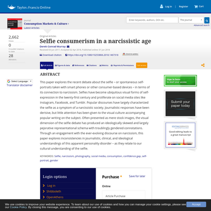 Selfie consumerism in a narcissistic age