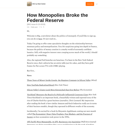 How Monopolies Broke the Federal Reserve