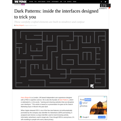 Dark Patterns: inside the interfaces designed to trick you