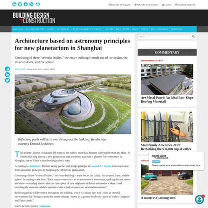 Architecture based on astronomy principles for new planetarium in Shanghai