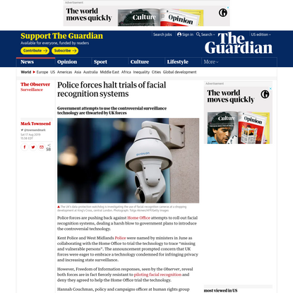 Police forces halt trials of facial recognition systems