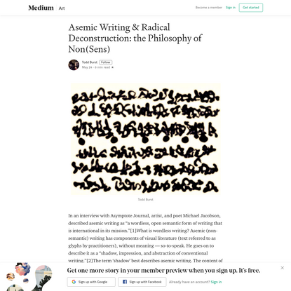 Asemic Writing & Radical Deconstruction: the Philosophy of Non(Sens)