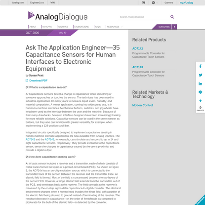 Capacitance Sensors for Human Interfaces to Electronic Equipment   Analog Devices