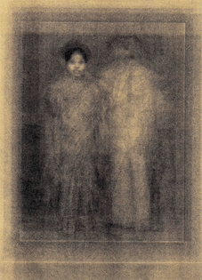A golden image of what appears to be two figures (a man and a woman) standing. Everything is gold.