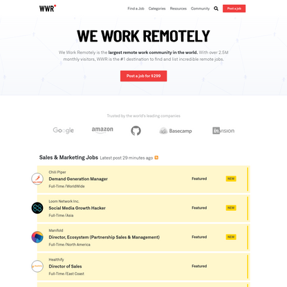 We Work Remotely: Remote jobs in design, programming, marketing and more