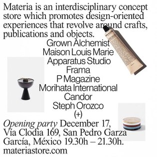 Come join us this Monday, December 17 for the opening of @materia_____ a concept store that promotes design-oriented experie...