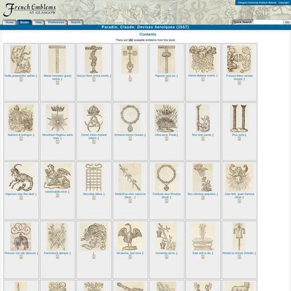 French Emblems: Contents of Paradin, Claude: Devises heroïques (1557)
