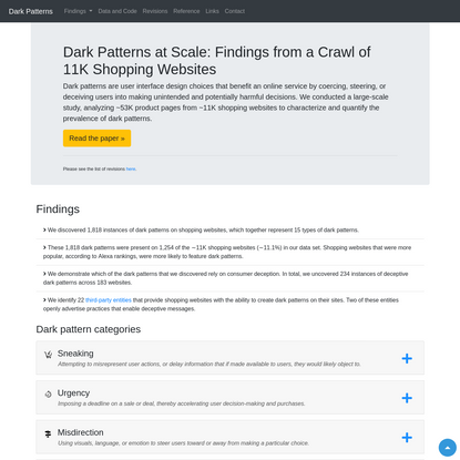 Dark Patterns at Scale: Findings from a Crawl of 11K Shopping Websites