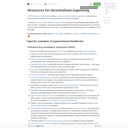 Resources for decentralised organising - HackMD
