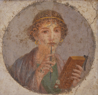 """Woman with wax tablets and stylus (so-called """"Sappho"""")"""
