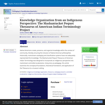 Knowledge Organization from an Indigenous Perspective: The Mashantucket Pequot Thesaurus of American Indian Terminology Project