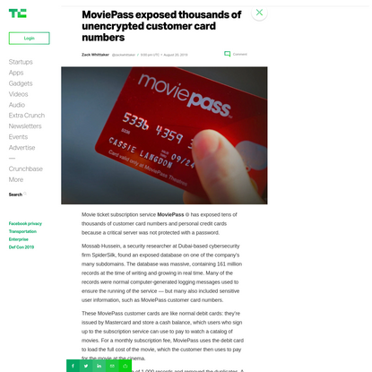 MoviePass exposed thousands of unencrypted customer card numbers