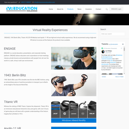 Products - Virtual Reality Education & Corporate Training. VR Education Holdings PLC