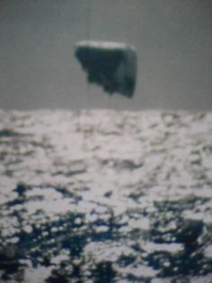 Fata Morgana iceberg mirage from 1970s arctic nuclear submarine periscope