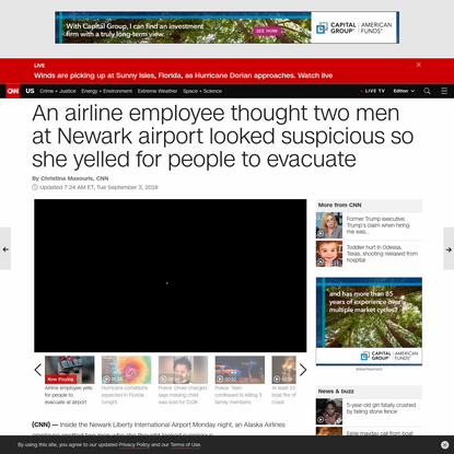 An airline employee thought two men at Newark airport looked suspicious so she yelled for people to evacuate - CNN
