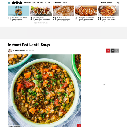 Instant Pot Lentil Soup Will Keep You SO Cozy All Winter