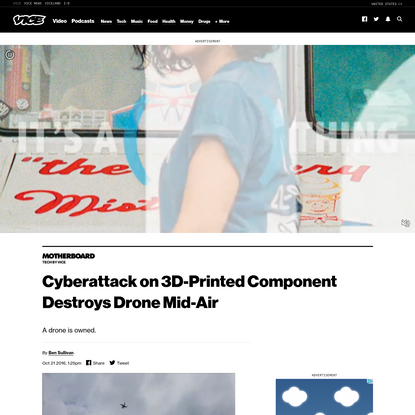 Cyberattack on 3D-Printed Component Destroys Drone Mid-Air