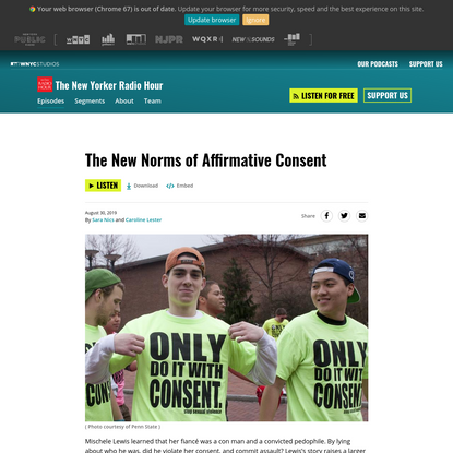 The New Norms of Affirmative Consent | The New Yorker Radio Hour | WNYC Studios
