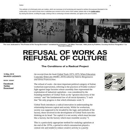 Refusal of Work as Refusal of Culture