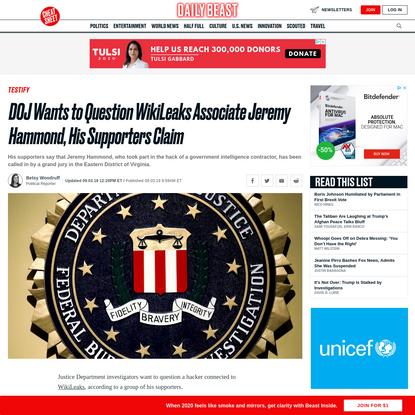DOJ Wants to Question WikiLeaks Associate Jeremy Hammond, His Supporters Claim