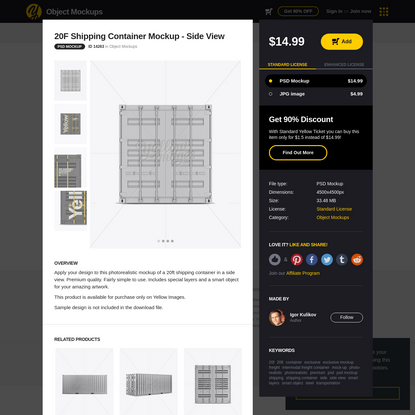 20F Shipping Container Mockup - Side View in Object Mockups on Yellow Images Object Mockups