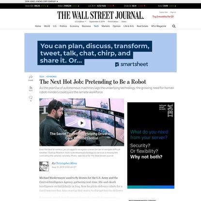 The Next Hot Job: Pretending to Be a Robot - WSJ